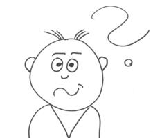Gezeigt ist ein Männchen, das einen fragenden Gesichtsausdruck hat und über seinem Kopf schwebt zusätzlich ein Fragezeichen.