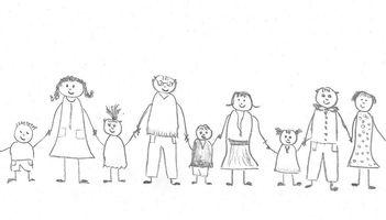 Dargestellt ist eine Bleistiftzeichnung mit fröhlich schauenden Strichmännchen, die Eltern und Kinder darstellen. Alle halten sich an den Händen.