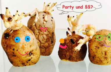 Kartoffelmännchen und-weibchen denken über Rechte bei einer Party nach.