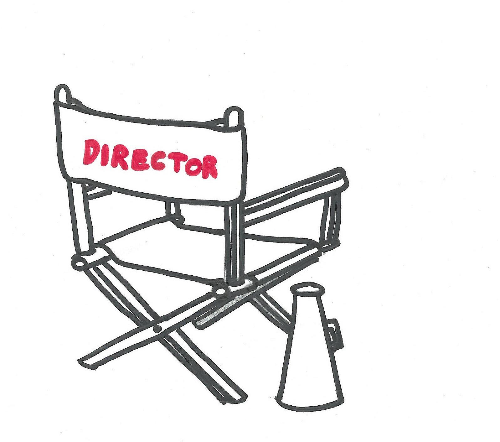 Zeichnung eines leeren Regiestuhls mit der Aufschrift Director als Darstellung für das Direktorat.